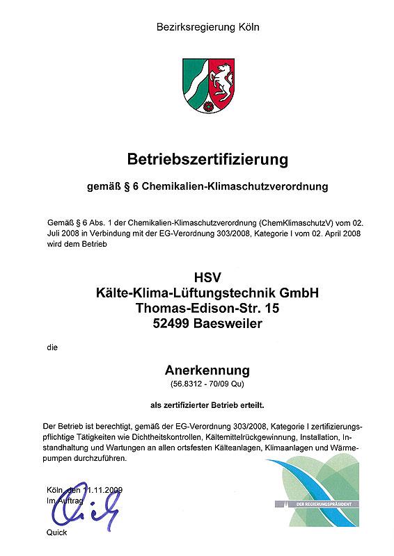 Unsere Zertifizierung gemäß Klimaschutzverordnung