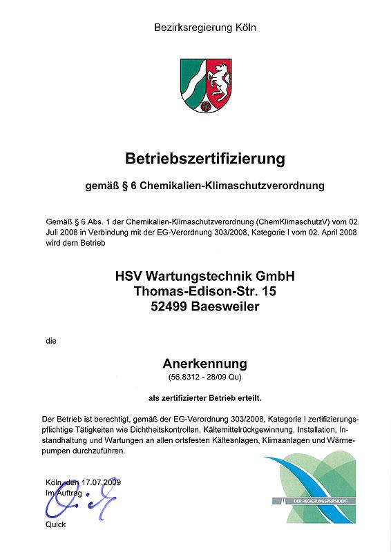 Die Zertifizierung gemäß § 6 Chemikalien-Klimaschutzverordnung